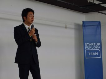 挨拶に駆けつけた高島福岡市長