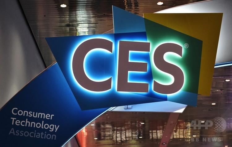 世界最大級の家電見本市「国際コンシューマー・エレクトロニクス・ショー(CES)」のロゴ、米ネバダ州ラスベガスにて(2018年1月6日撮影)。(c)AFP PHOTO / MANDEL NGAN