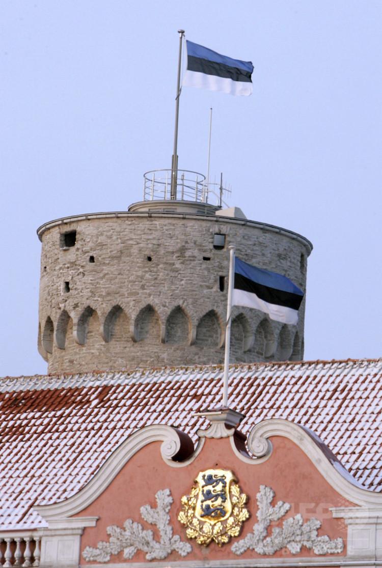 エストニアの首都タリンのトームペア城に掲げられた国旗(2007年2月24日撮影)。(c)AFP/RAIGO PAJUL