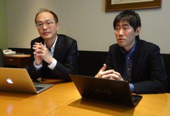 国際大学GLOCOMの中西崇文准教授・主任研究員(左)とコラージュ・ゼロの小島拓也社長