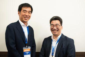 武田薬品工業 月見泰博氏(右)と戎野幸彦氏