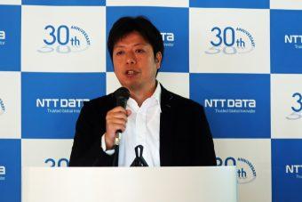 「クラウドサービスでの提供を」と語るNTTデータ 社会基盤ソリューション事業本部部長 矢野亮氏