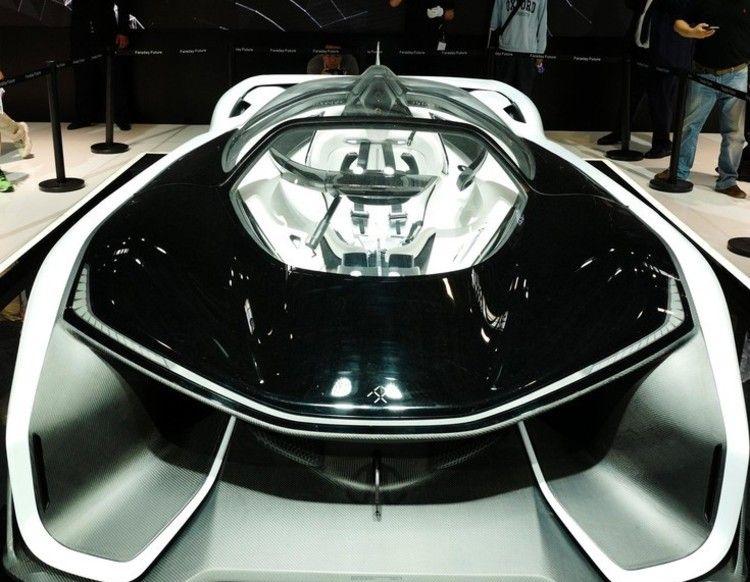 展示会に出展されたファラデー・フューチャー社製の車(2016年4月25日撮影、資料写真)。(c)CNS/侯宇