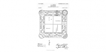 The first patent drawing for Lizzie Magie's board game, The Landlord's Game, dated January 5, 1904
