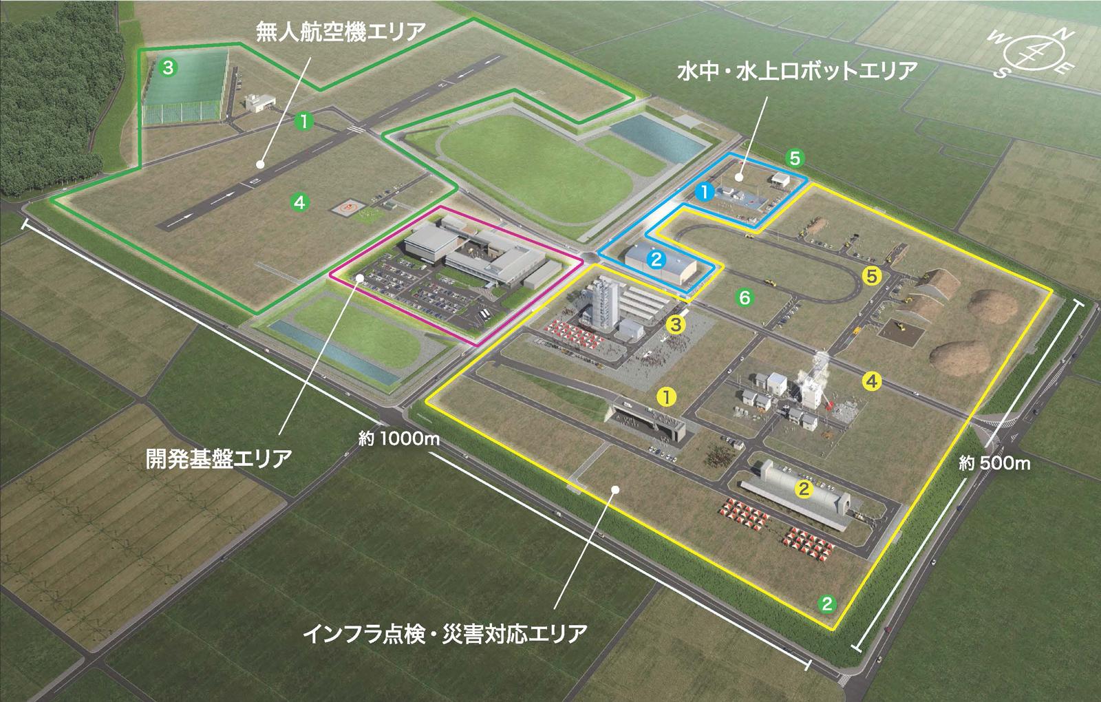 NEDOが飛行試験などを行う「福島ロボットテストフィールド」(福島県南相馬市)。陸・海・空のフィールドロボットを対象に使用環境を再現しながら試験や性能評価などができる