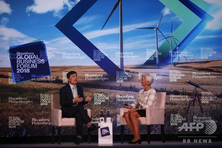 李彦宏CEOと国際通貨基金のクリスティーヌ・ラガルド総裁(2018年9月27日撮影)。(c)CNS/王帆