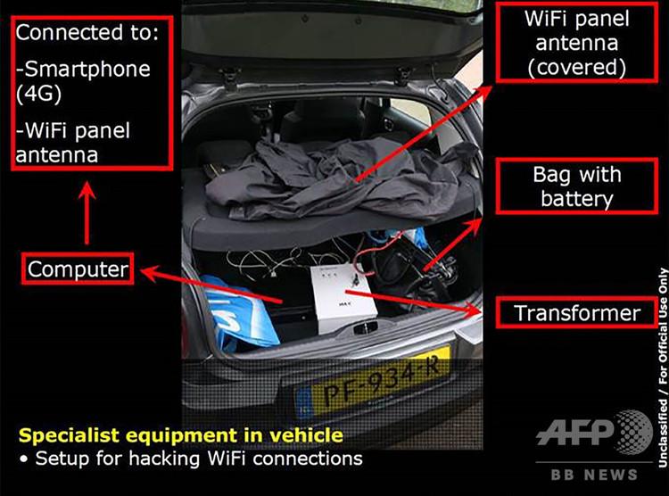 化学兵器禁止機関(OPCW)へのサイバー攻撃に使われた車から発見された機器。オランダ国防省公開(2018年10月4日公開)。(c)AFP PHOTO /DUTCH DEFENCE MINISTRY