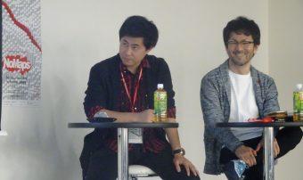 俳人の大塚凱氏(左)とTSIホールディングスの渡井氏