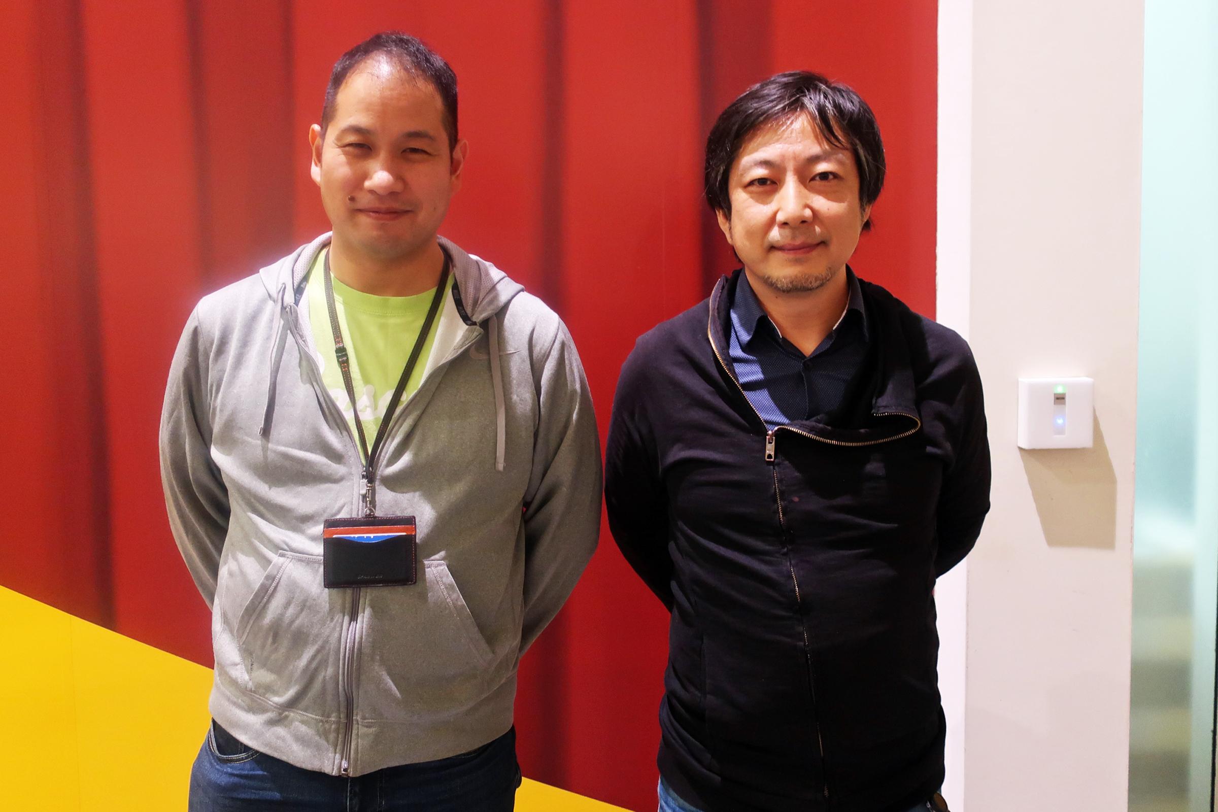 バスキュール の中山誠基テクニカルプロデューサー(左)とデジタルガレージの 藤村憲之UX:クリエイティブエンジニア(AR:VR)