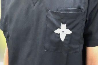 ユニホームのクリオネの刺繍は廣田氏のお手製