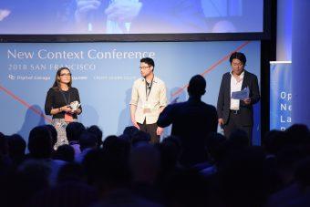 質問を受ける舞台上のtellusのTania Coke氏(左)とKevin Hsu氏(中)