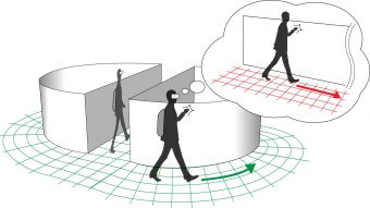 限られたスペースで、広大なVR空間の歩行体験を可能にする「視触覚相互作用を用いたリダイレクション」写真提供:廣瀬・谷川・鳴海研究室