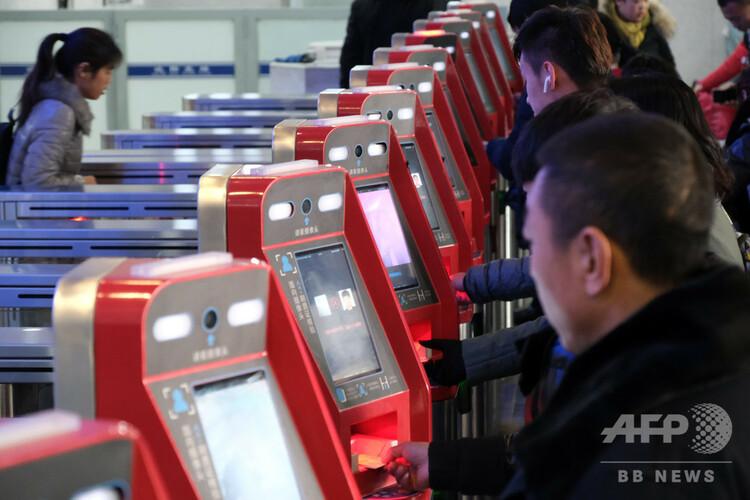 遼寧省瀋陽市の顔認証改札(2019年1月16日撮影、資料写真)。(c)CNS/黄金昆