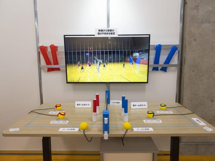 「スポーツの状況を体感できる触覚インターフェース」の展示物