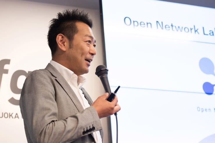 Open Network Lab FUKUOKAの説明をするデジタルガレージの佐々木智也