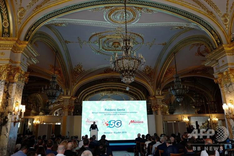モナコ全土が5Gネットワークで網羅されたことを正式発表するイベントの様子(2019年7月9日撮影)。(c)VALERY HACHE / AFP