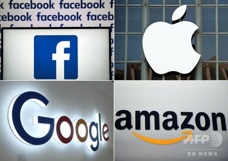 (左上から時計回りに)米国のフェイスブック、アップル、アマゾン・ドットコム、グーグルのロゴ(2019年7月10日作成)。(c)AFP