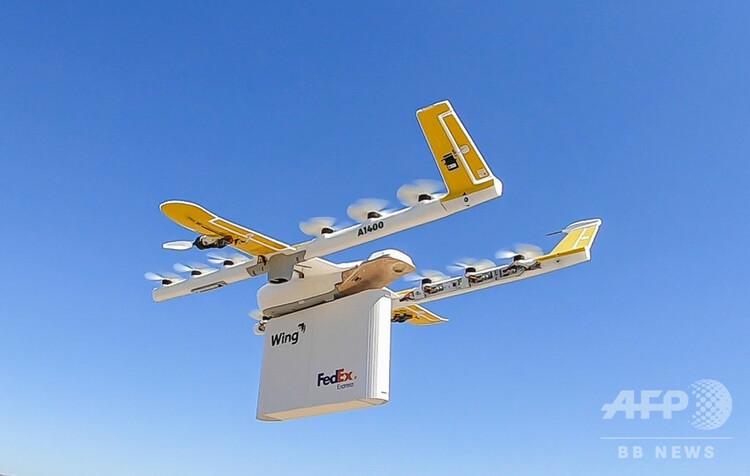 荷物を運ぶドローン。ウィング・アビエーション提供(2019年9月19日提供)。(c)AFP PHOTO/WING AVIATION LLC/HANDOUT