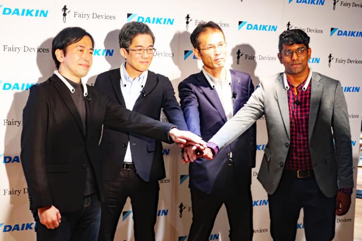 左よりフェアリーデバイセズ江副氏、藤野氏、ダイキン工業米田氏、BUSI ASHISH氏