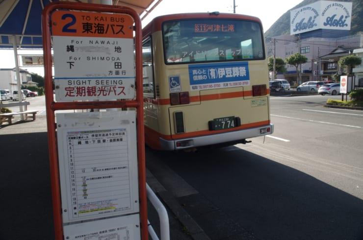 駅からのバス便はあるもが(河津駅前にて:筆者撮影)