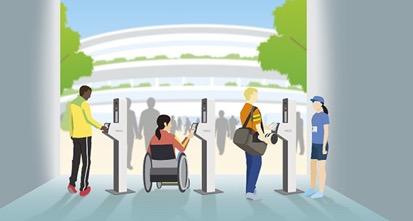 東京2020オリンピック・パラリンピック競技大会、関係者の会場入場時における顔認証による本人確認イメージ(NECプレスリリースより)