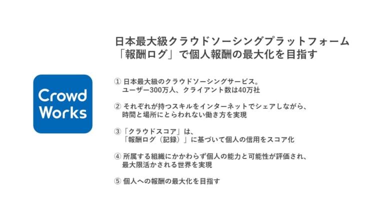 株式会社クラウドワークスの木村氏の説明スライドより