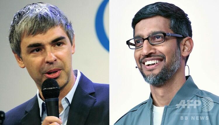 グーグルの最高経営責任者(CEO)時代のラリー・ペイジ氏(左、2012年5月21日撮影)とグーグルのスンダル・ピチャイCEO(右、2019年5月7日撮影)。(c) Emmanuel DUNAND and Josh Edelson / AFP