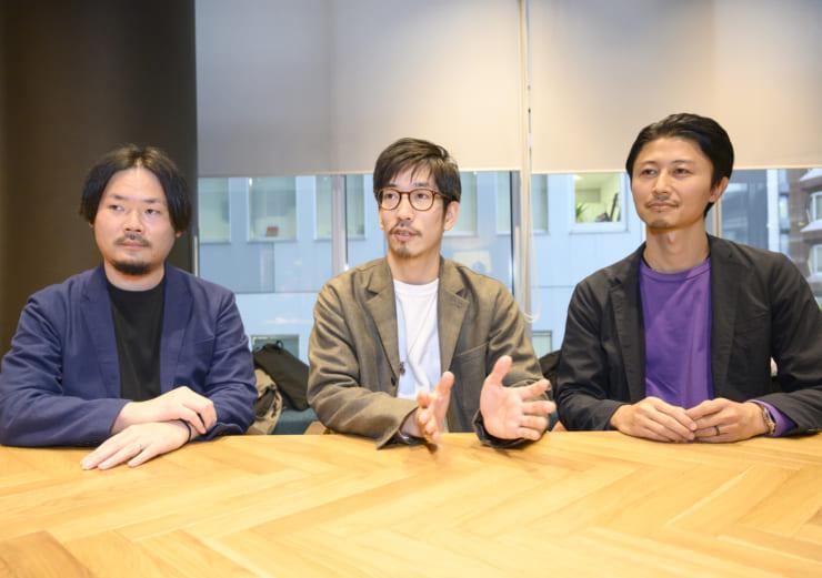 実証実験参加に参加した背景を説明するユナイテッドアローズの小山氏(右)、黒須氏(中央)、齊藤氏(左)