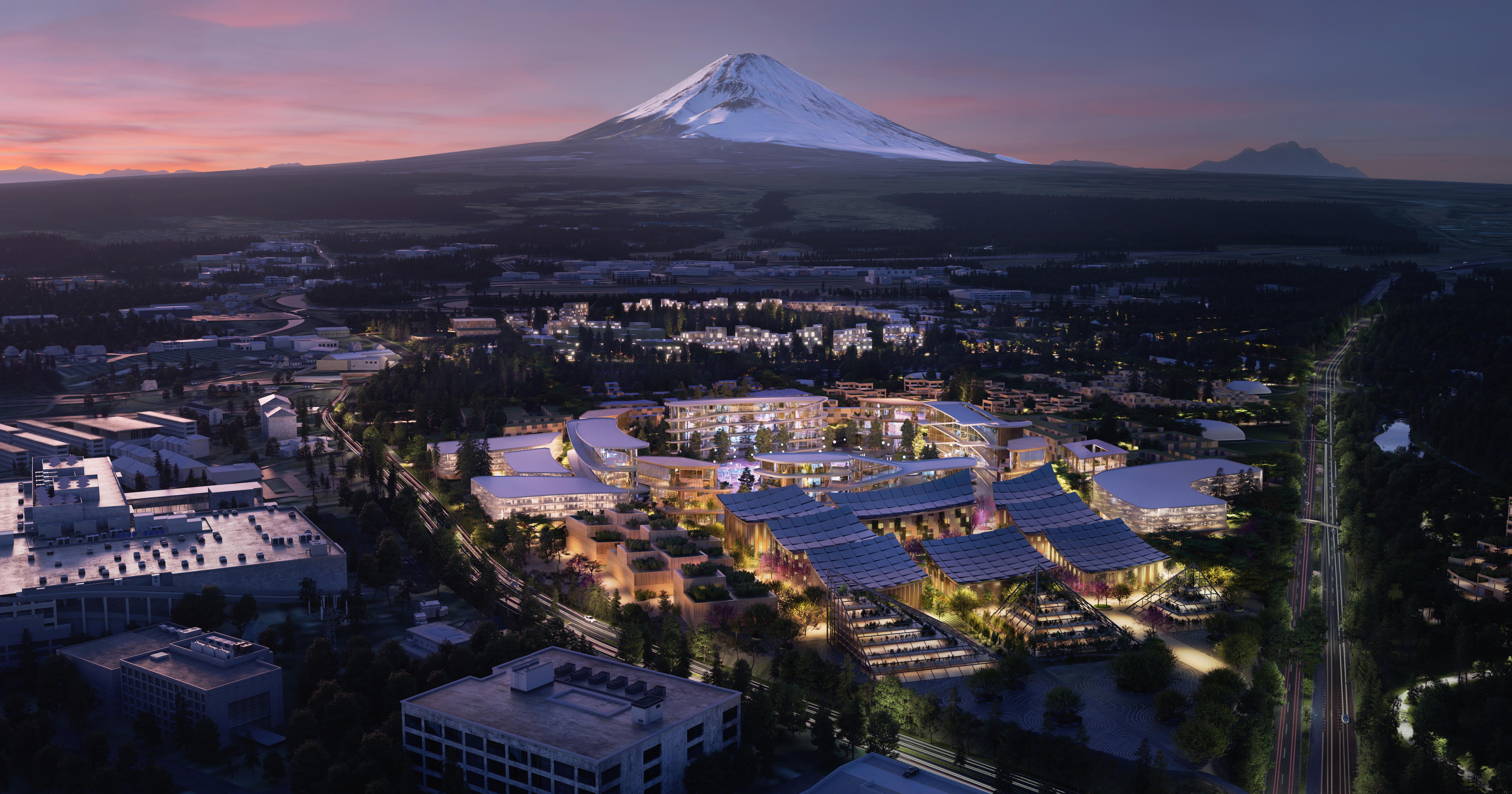 富士山の裾野に広がる「WovenCity」(トヨタ自動車プレスリリースより)