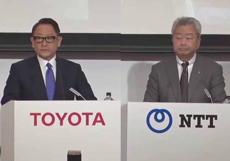 トヨタ自動車・豊田章男社長(左)NTT澤田純社長(右)