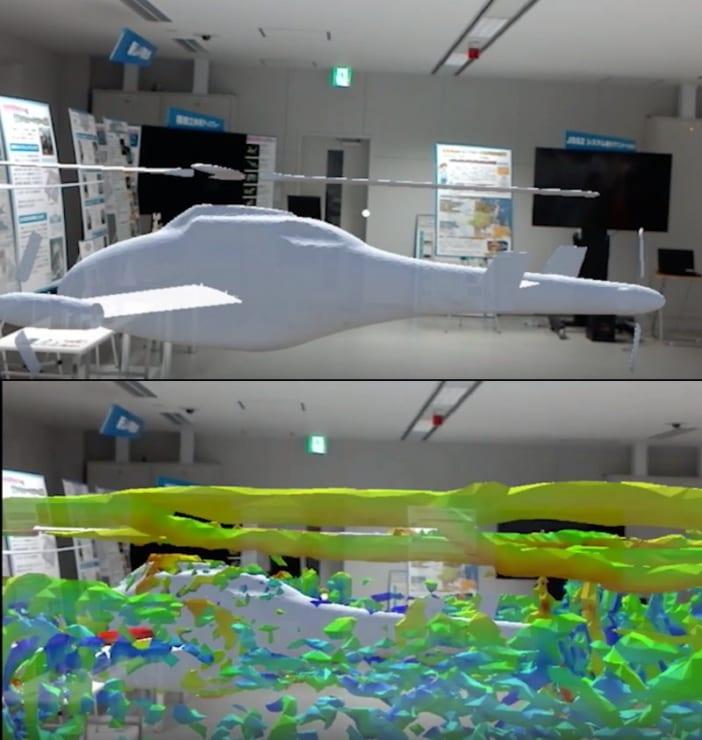 コンパウンド・ヘリコプターの3D画像(上)に可視化した空気の流れを表示(下)