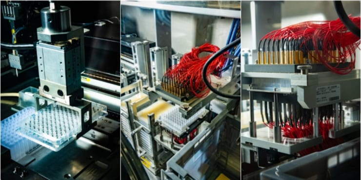 ハイスループット電解液探索システムの様子。まず分注操作ユニット(左写真)で組成の異なる電解液をセルに注入。セルをロボットアーム(中央写真)で電極部(右写真)に運び、ここで電気特性を計測する(写真提供:NIMS)