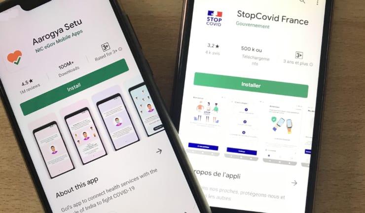 プライバシーへのレベルは各国ごとに異なる。インド(左)フランス(右)の新型コロナ対策アプリのインストール画面