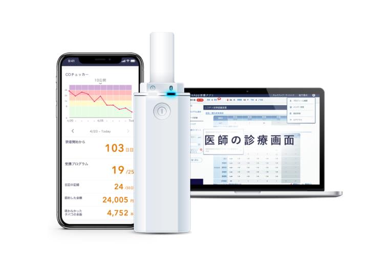 患者用アプリ(左)COチェッカー(中央)医師用画面(右)