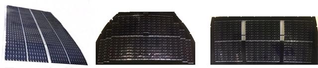 複数の太陽電池セルにより構成された太陽電池パネル (左からルーフ、フード、バックドア)
