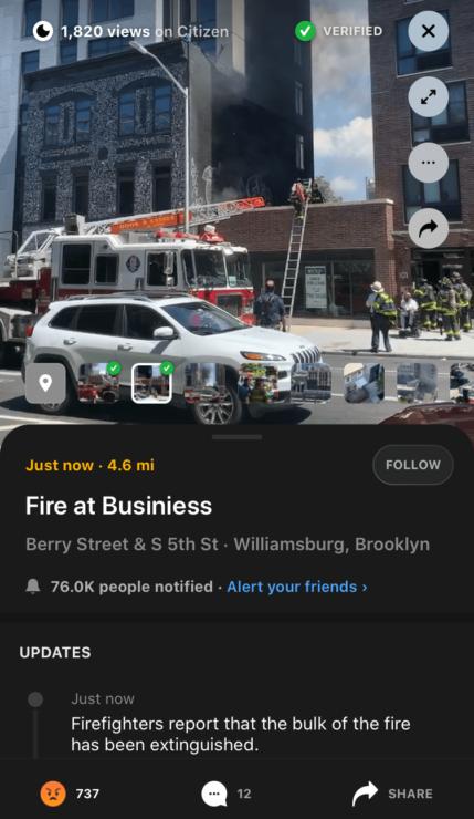 地図上の点をクリックすると事件・事故の内容、他のユーザーが投稿した動画や写真を見ることが出来る(運営スタッフがチェック済みのものには「Verified=検証済み」のマーク)