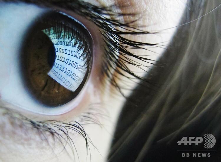 バイナリーコードが表示されたコンピューター画面を見る人(2012年10月22日撮影、資料写真)。(c)LEON NEAL / AFP