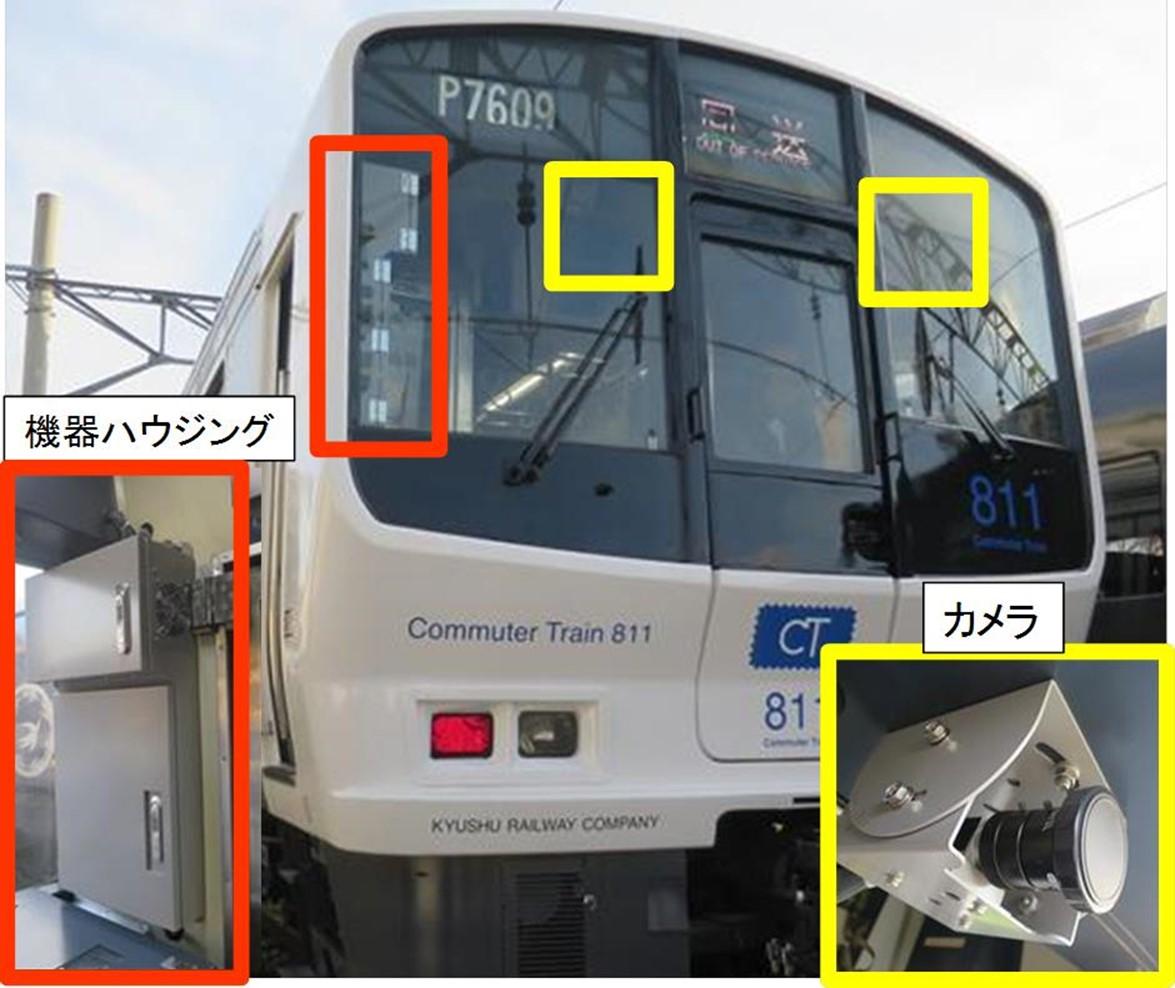 列車先頭に取り付けられたステレオカメラ(黄色枠箇所) (画像提供:JR九州)