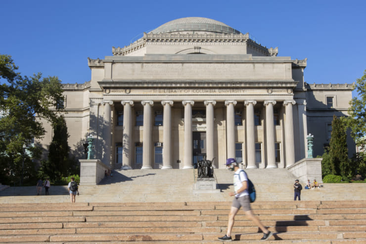 ニューヨークにあるコロンビア大学もリモート授業に切り替え、キャンパスの人影はまばらだ(撮影/新垣謙太郎=9月4日 ニューヨーク市)