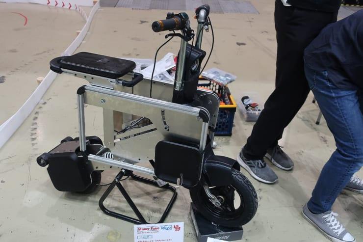 「タタメルバイク」のプロトタイプ。組み上げたイメージ