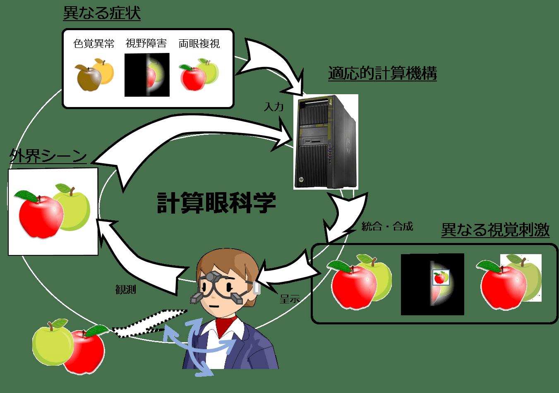 「計算眼科学」の概念図 (画像提供:茅研究室)