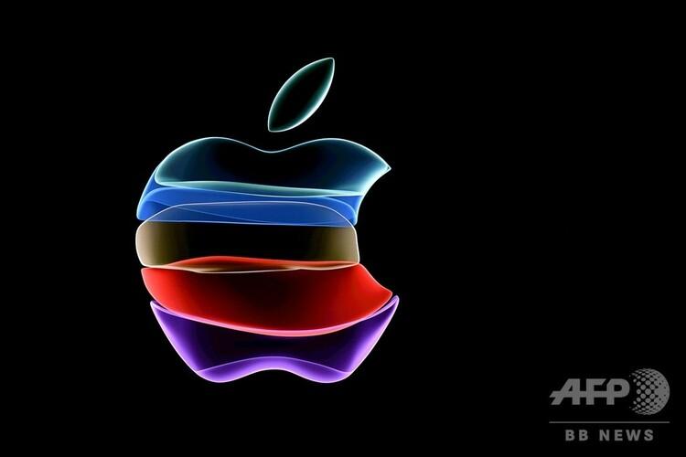 アップルのロゴ(2020年9月10日撮影、資料写真)。(c)Josh Edelson / AFP