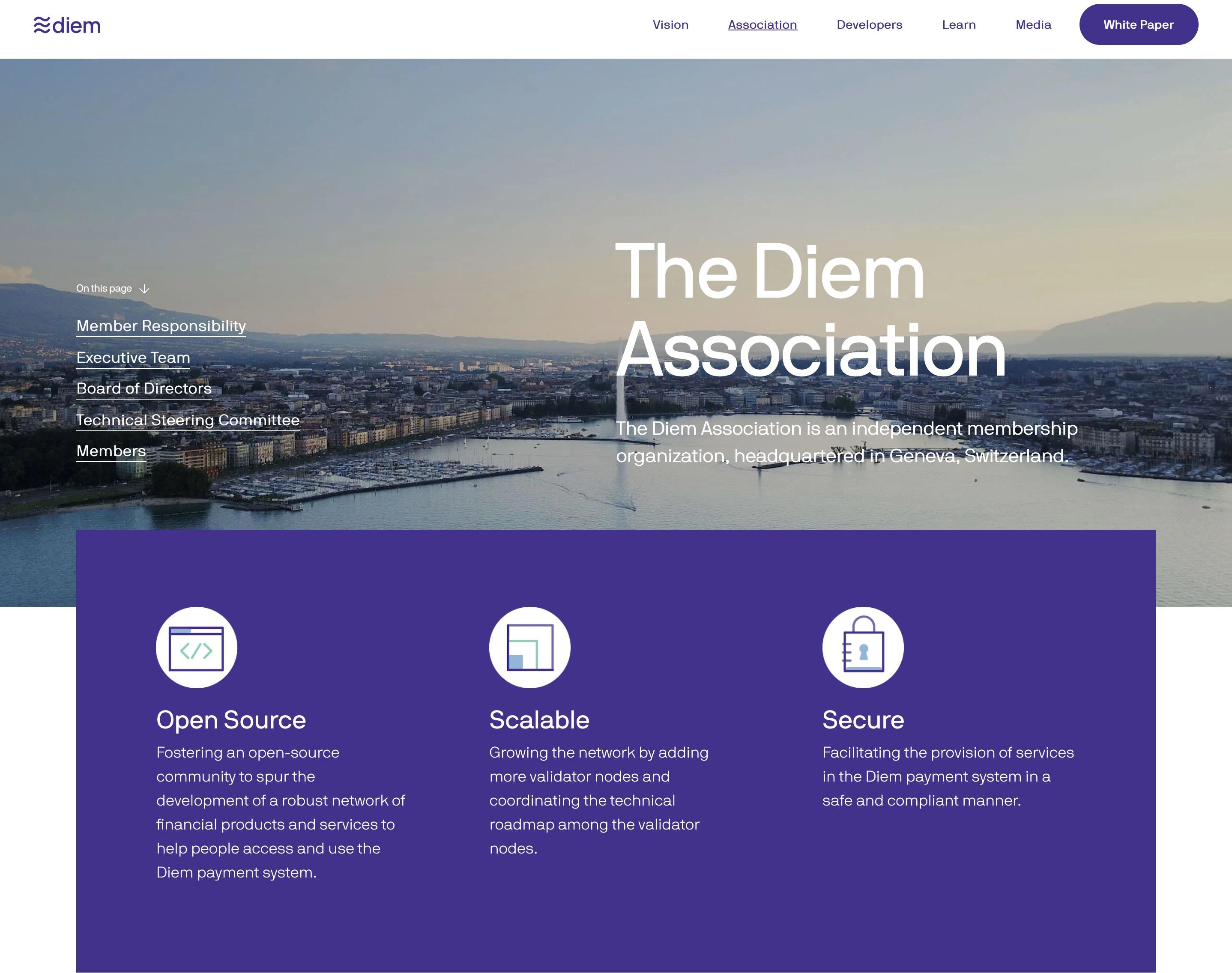 名称変更後「Diem協会」となった旧Libra協会のHP