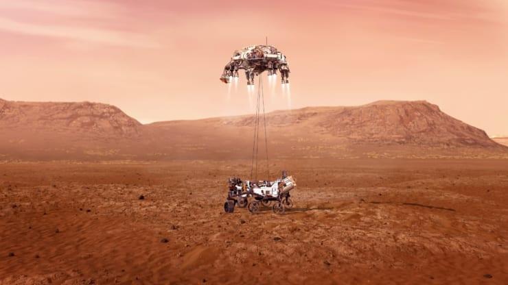 火星到着火星探査車「パーサビアランス(Perseverance)」火星到着のイメージ図(NASA / JPL-Caltech)