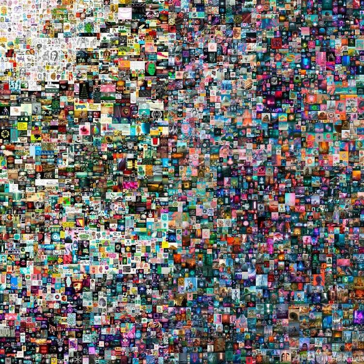 落札された米アーティスト、ビープルのデジタルコラージュ作品。クリスティーズ提供(2021年3月10日提供)。(c)AFP PHOTO :CHRISTIE'S AUCTION HOUSE:HANDOUT