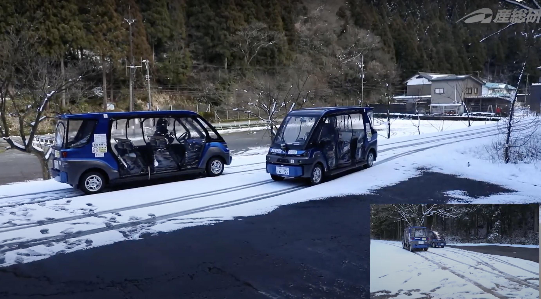 2019年度の永平寺町での自動運転実証評価の様子(産総研Youtebe動画よりキャプチャ)