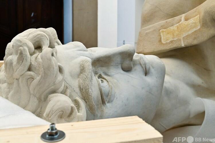 3Dプリンターで複製されたミケランジェロの「ダビデ像」。伊フィレンツェで(2020年4月14日撮影)。(c)Carlo BRESSAN : AFP