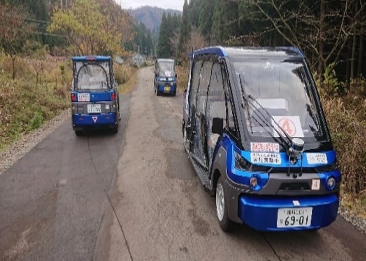 永平寺町を走る自動運転レベル3の無人カート(提供 産総研)