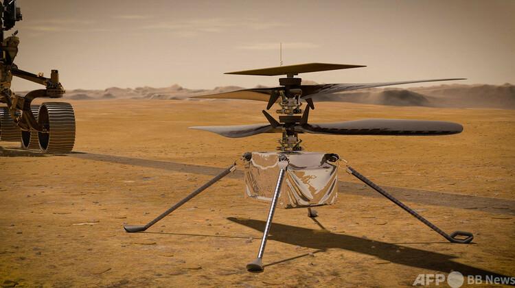 米航空宇宙局(NASA)の小型ヘリコプター「インジェニュイティ」のイラスト。NASA提供(2021年3月23日入手)。(c)AFP PHOTO : NASA:JPL-Caltech:HANDOUT