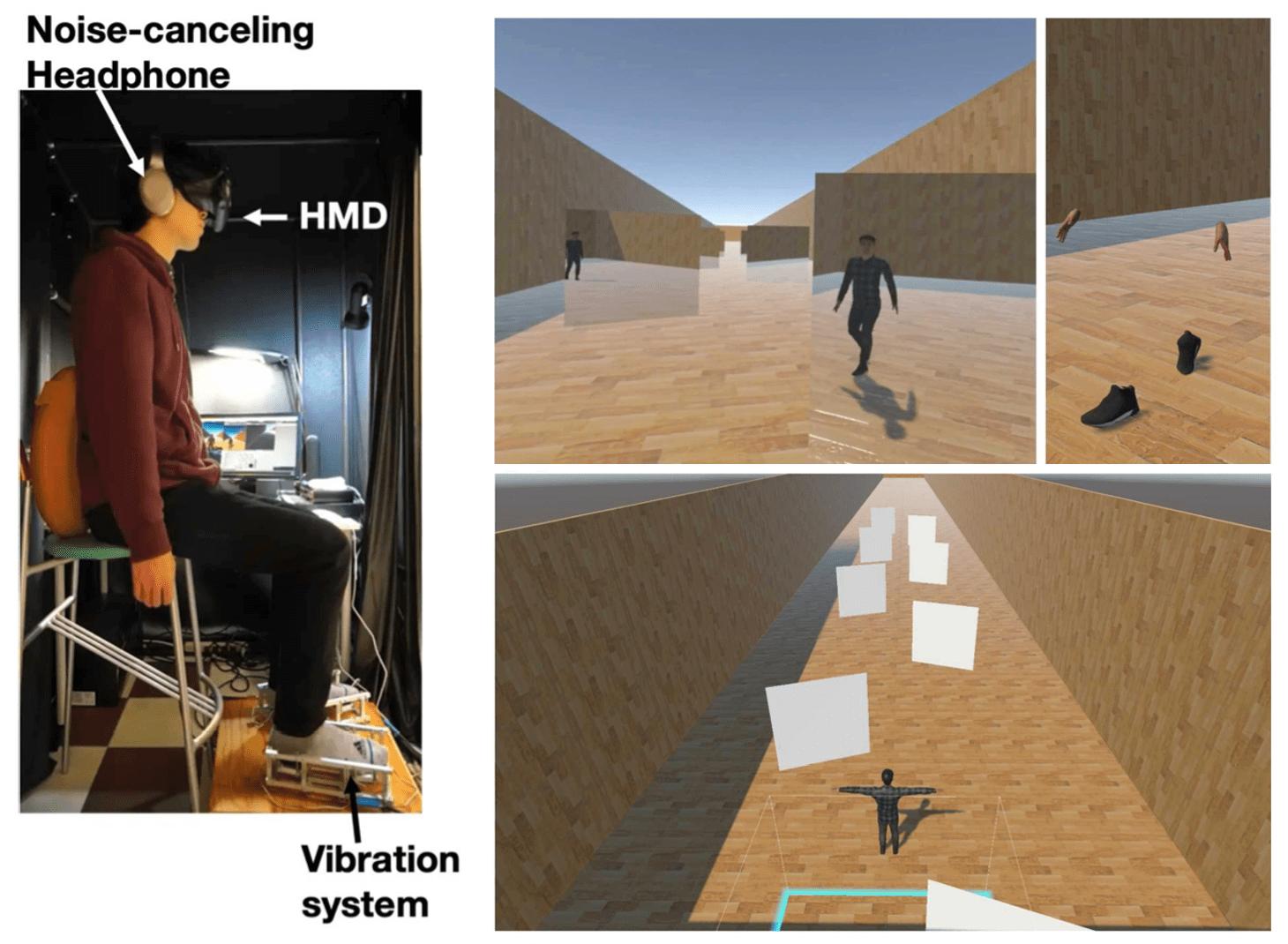 「歩いているアバターによるバーチャル歩行体験を提供する」システムを体験する様子(左)と、バーチャル空間内の様子(右側3枚)(画像提供:豊橋技術科学大学)